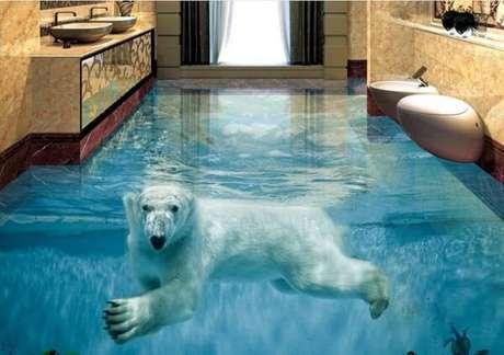 44 – Piso 3D com imagem de urso polar. Fonte: Fonte ConstruindoDecor