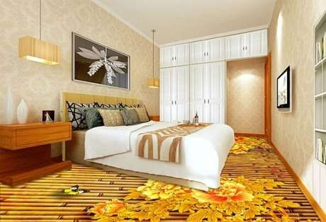 30 – Piso 3D com temática de flores aplicado no quarto de casal. Fonte: Pinterest