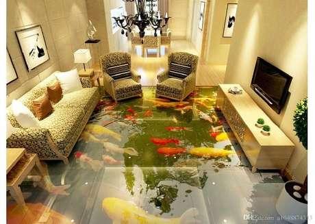 31 – Piso 3D com temática de peixes aplicado na sala de estar. Fonte: DHGate