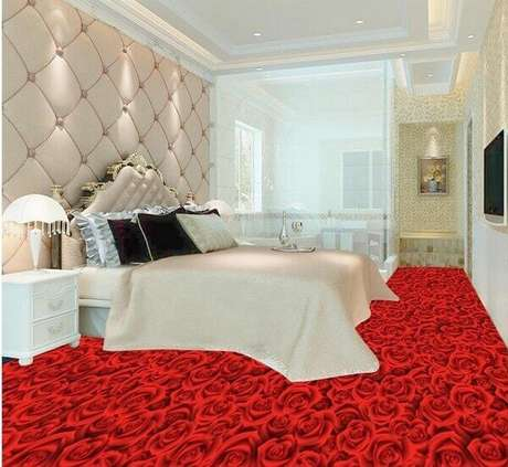 32 – Piso 3D com temática de rosas vermelhas aplicada no quarto de casal. Fonte: AliExpress