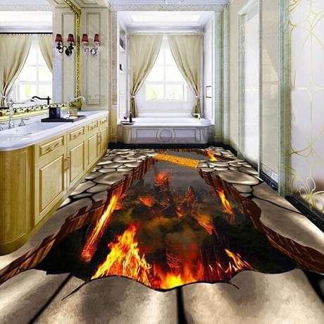 33 – Piso 3D com temática de vulcões aplicado no banheiro. Fonte: Pinterest