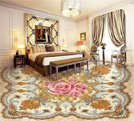 27 – Piso 3D feito com adesivo clássico e aplicado no quarto de casal. Fonte: Casa e construção