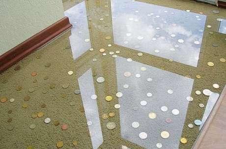 11 – Piso 3D criativo feito com moedas. Fonte: Pinterest