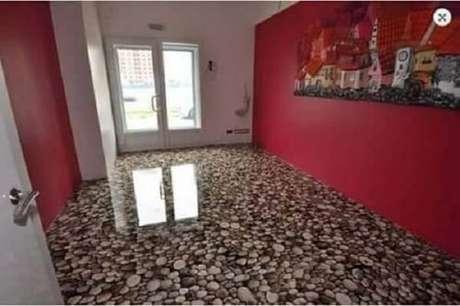 35 – Piso 3D imitando pedras aplicado em um dos ambientes da casa. Fonte: Pinterest