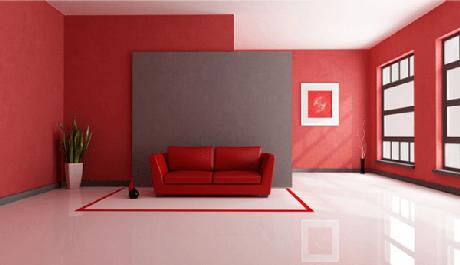 2 – Piso em 3D aplicado nas cores branco e vermelho na sala de estar. Fonte: Pinterest