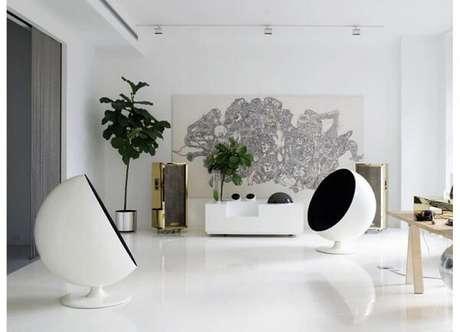 20 – Piso líquido 3D na cor branca aplicado na sala de estar. Fonte: Arquidicas