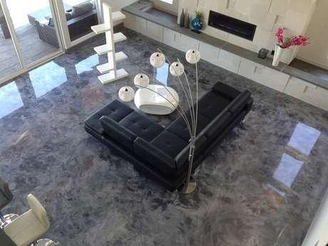 1 – Piso 3D que imita pedra aplicado na sala de estar. Fonte: Pinterest