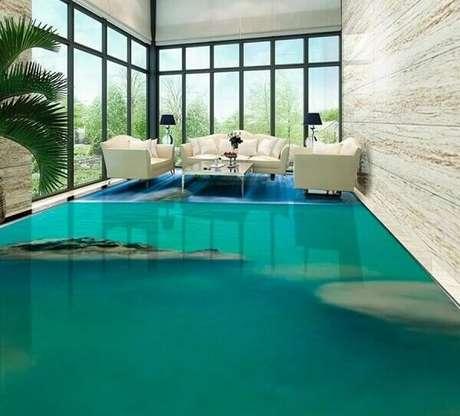 40 – Transforme a decoração da sua sala de estar utilizando o piso 3D. Fonte: Pinterest