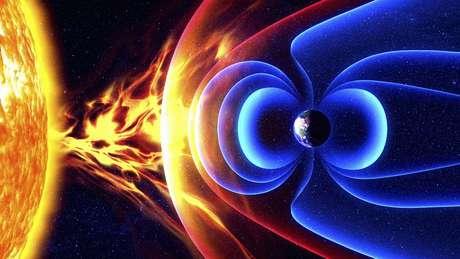 O campo magnético da Terra é um escudo que protege o planeta da radiação dos ventos solares