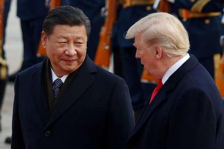 Presidente dos EUA, Donald Trump, ao lado do mandatário chinês, Xi Jinping  09/11/2017 REUTERS/Damir Sagolj