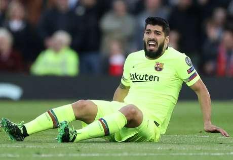 Suárez durante o duelo do Barcelona contra o Liverpool pela Liga dos Campeões