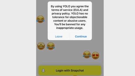 """""""Yolo não tem tolerância para conteúdo questionável ou usuários abusivos. Você será banido por qualquer uso inapropriado"""", diz alerta da empresa a usuários que baixam o app"""