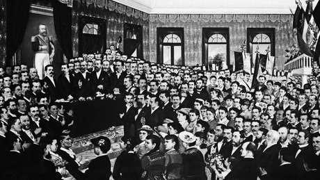 Pintura da sessão parlamentar que aboliu a escravidão no Ceará em 1884: articulação nacional