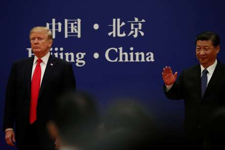 Presidentes dos EUA, Donald Trump, e da China, Xi Jinping  09/11/2017 REUTERS/Jonathan Ernst