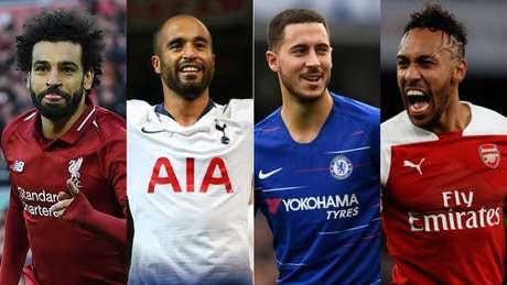 Salah, Lucas, Hazard e Aubameyang são alguns dos melhores representantes de seus clubes (Foto: Reprodução)