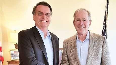O presidente Jair Bolsonaroencontrou com ex-presidente americano George W. Bush, em Dallas