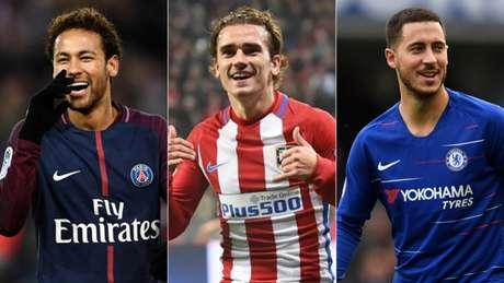 Neymar, Griezmann e Hazard movimentaram o vaivém no início desta semana (AFP)