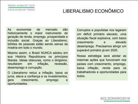 Plano de governo Bolsonaro em 2018 exaltava o liberalismo econômico