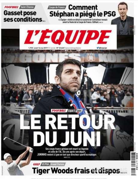 Juninho fez mais de 300 jogos com a camisa do Lyon e marcou 100 gols (Reprodução)