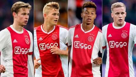 De Jong, De Ligt, Neres e Van de Beek são alguns dos jovens que brilharam pelo Ajax na temporada (Reprodução)