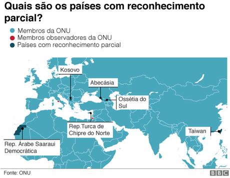 Mapa países com reconhecimento parcial