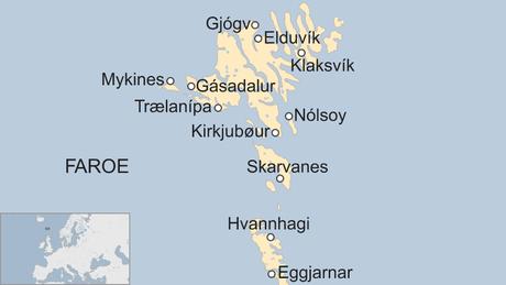 Mapa mostra as Ilhas Faroe
