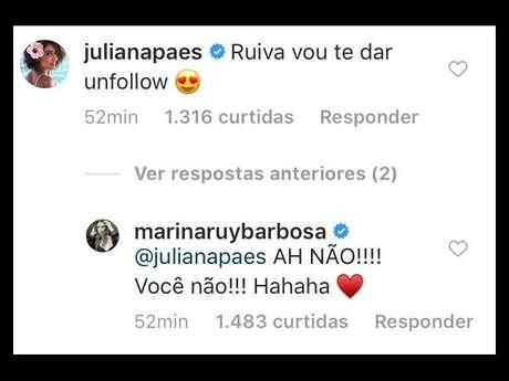 Juliana Paes brinca ao comentar foto de Marina Ruy Barbosa