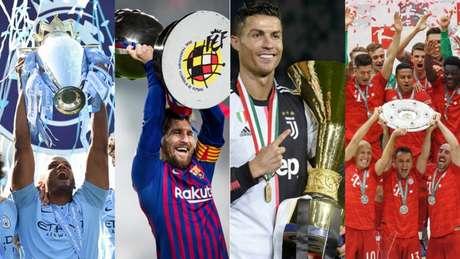 Manchester City, Barcelona, Juventus e Bayern de Munique levantaram as taças de seus campeonatos (Divulgação)