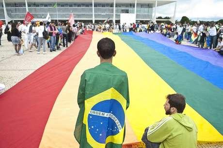 Protesto no Palácio do Planalto. Atualmente, não existe na legislação brasileira crime de homofobia