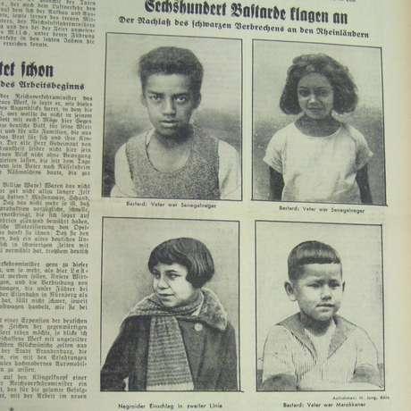 "Manchete do jornal Frankfurter Volksblatt em 1936: ""600 bastardos"""