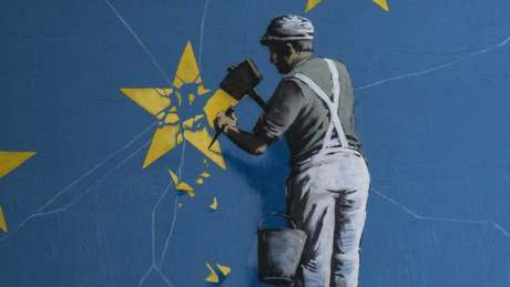 illustration of a man chipping a star off the EU flag