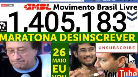 Um dos grupos que apoiam a manifestação fez transmissão ao vivo da desinscrição de pessoas da página do MBL