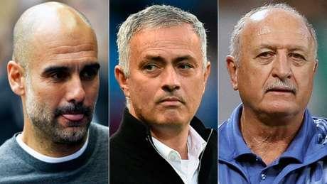 Guardiola, Mourinho e Felipão estão entre os treinadores mais vitoriosos da história do futebol (Foto: Reprodução)