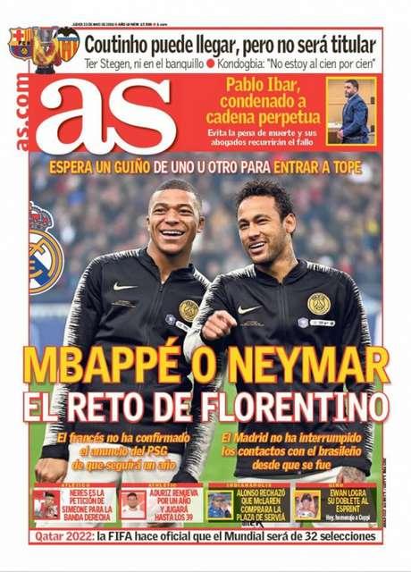 Capa do 'As' traz uma imagem de Neymar e Mbappé juntos antes de uma partida pelo PSG (Reprodução)