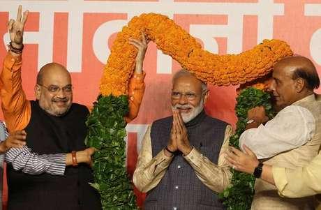 Narendra Modi comemora vitória nas eleições na Índia