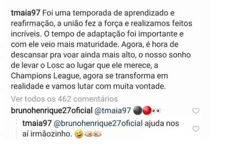 Bruno Henrique comentou na postagem de Thiago Maia (Foto: Reprodução)