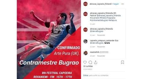 """Contramestre """"Bugrão"""" foi em março para um evento de capoeira na Finlândia"""