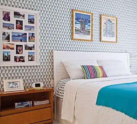28. Dicas de decoração de quarto com papel de parede e mural de fotos – Foto: Pinterest