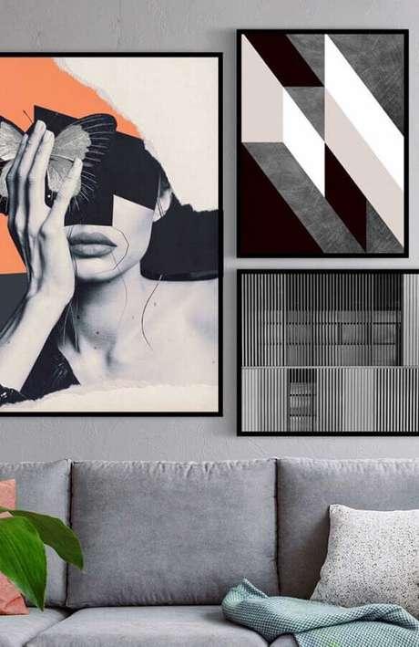 44. Dicas de decoração para casa moderna com quadros grandes – Foto: Pinterest