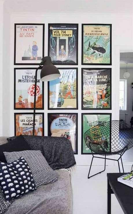 54. Parede de quadros são ótimas dicas de decoração para sala clean – Foto: Pinterest