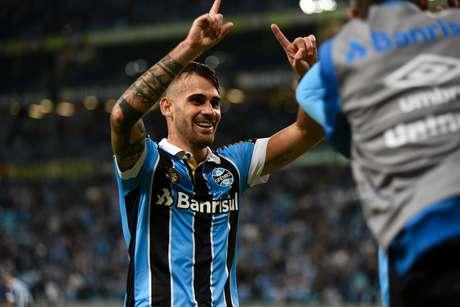 Felipe Vizeu marca o segundo gol para o Grêmio, durante jogo entre Grêmio x Juventude, partida válida pela jogo de volta das oitavas de final da Copa do Brasil 2019, na Arena do Grêmio nesta quarta 29/05, na cidade de Porto Alegre.