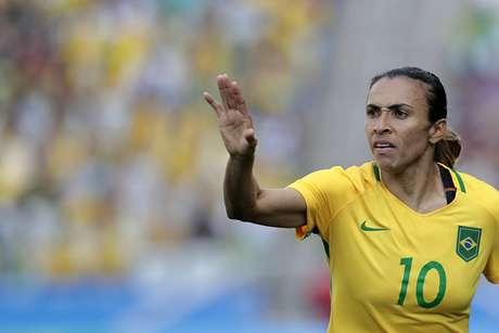 A jogadora Marta do Brasil durante a partida entre Brasil e Canadá, válida pelo Futebol Feminino das Olimpíadas Rio 2016, no Estádio Arena Corinthians, em São Paulo (SP)