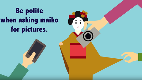 Campanha em 2017 já recomendava pedir autorização antes de fotografar aprendizes de gueixas