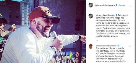 Presidente Jair Bolsonaro lamenta, em rede social, morte do MC Reaça