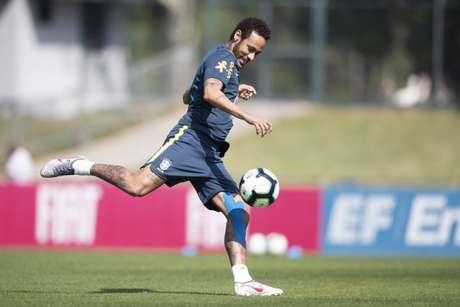 Neymar durante um treinamento da Seleção Brasileira na Granja Comary (Lucas Figueiredo/CBF)