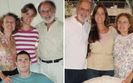Fernando Diniz com a família - na foto à esquerda, com o filho Fabricio, que morreu em um acidente de carro