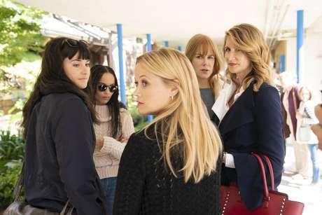 Shailene Woodley, Zoe Kravitz, Reese Witherspoon, Nicole Kidman e Laura Dern em cena da segunda temporada de 'Big Little Lies'