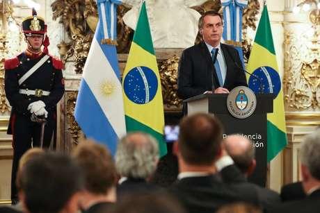 O presidente Jair Bolsonaro em evento na Argentina