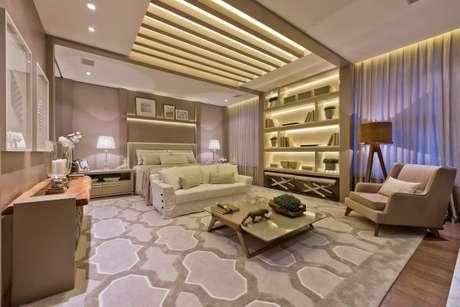 72. Quarto de luxo com iluminação diferenciada e cheia de estilo. – Foto: Viviane Loyola