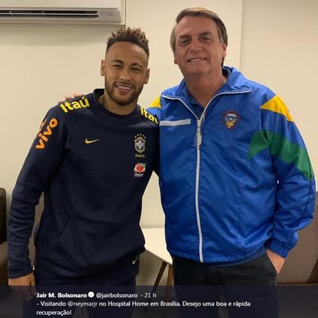 Bolsonaro postou em seu Twitter foto de encontro com o jogador, no qual ele diz ter conversado sobre 'amenidades'